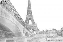 Drawn eiffel tower paris bridge