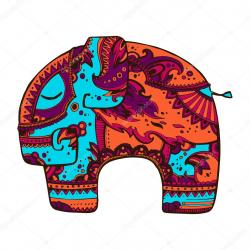 Drawn elephant bright