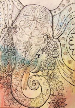 Drawn elephant psychedelic