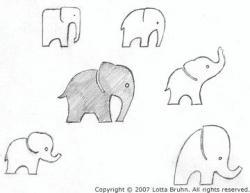 Drawn elephant tiny elephant