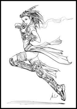 Drawn steampunk legend