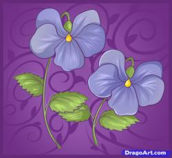 Drawn flower purple violet