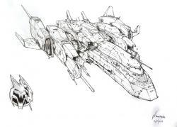 Drawn spaceship spacecraft