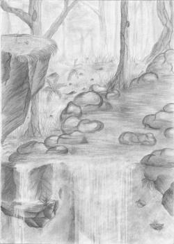 Drawn waterfall pencil sketch