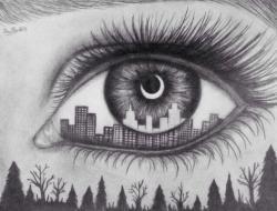 Drawn eye artwork