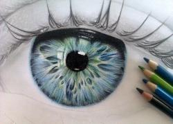 Drawn eyeball colour pencil