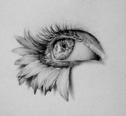 Drawn eyeball flower
