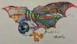 Drawn eyeball flying eyeball