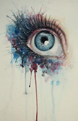 Drawn eyeball watercolor pencil
