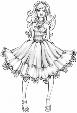 Barbie clipart colouring page fashion fairytale