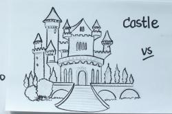 Drawn palace fairytale castle