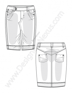 Drawn jeans technical flat