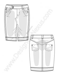 Drawn jeans technical flat