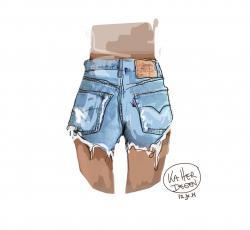 Drawn jeans short pants