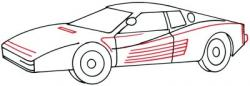 Drawn ferarri auto