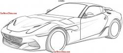 Drawn ferarri jaguar car