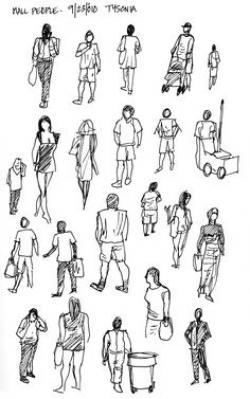 Drawn people sketching
