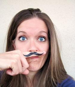 Drawn finger mustache