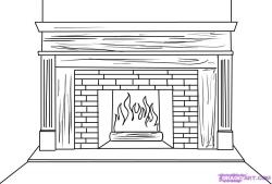 Drawn fireplace