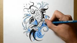 Drawn koi carp creative