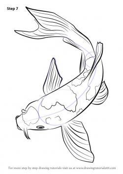 Drawn koi carp outline