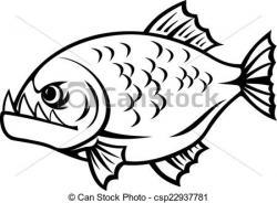 Piranha clipart black and white