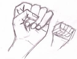 Drawn fist closed fist