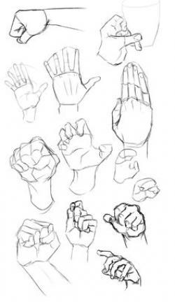 Drawn fist hand poses