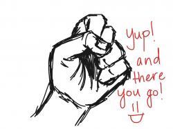 Drawn fist interesting