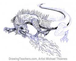 Drawn dragon lizard