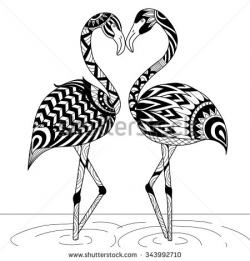 Drawn flamingo black and white