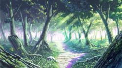 Drawn wallpaper forest