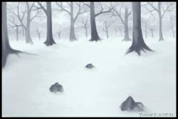 Drawn forest snowy