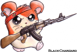 Drawn hamster gun