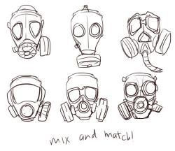 Drawn gas mask