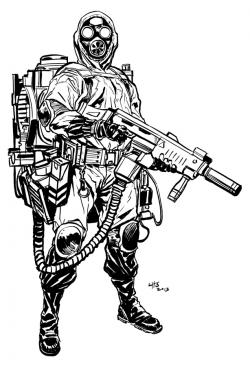 Drawn gas mask futuristic