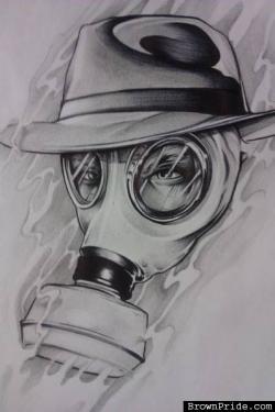 Drawn gas mask psycho realm
