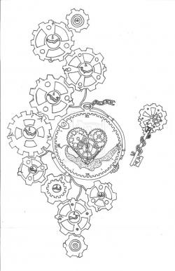 Drawn steampunk clockwork