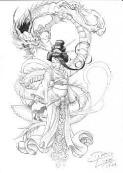 Drawn samurai geisha