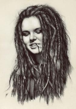 Drawn girl dreadlock
