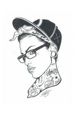 Drawn girl gangsta