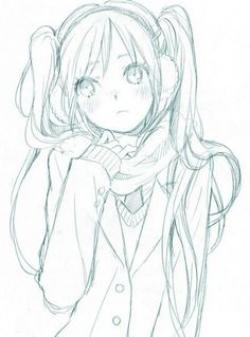 Drawn scarf female