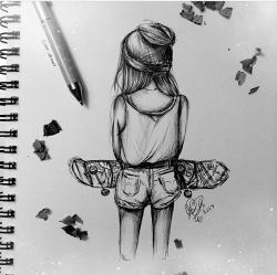 Drawn skateboard couple