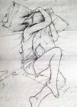 Drawn girl sleeping