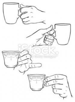 Drawn mug hand holding