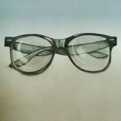 Drawn spectacles pencil drawing