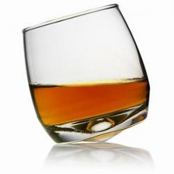 Drawn spectacles whisky glass
