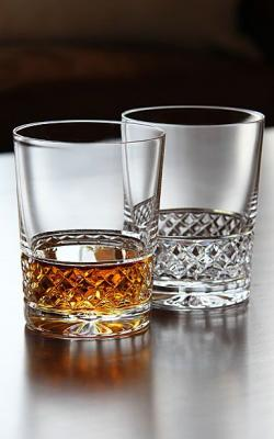 Drawn goggles whisky glass
