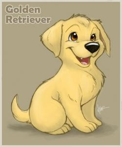 Drawn golden retriever cartoon
