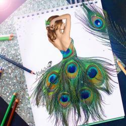 Drawn peafowl creative